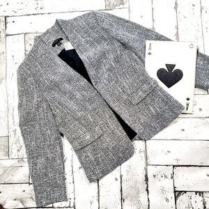 Ann Taylor Petite Black White Tweed Peplum Blazer